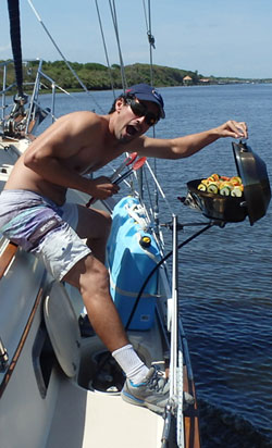 I'd take some grilled kabobers over just about any food options that you can find in the local restaurant scene of most spots (especially the options off the highways in the US...)  This was me grilling on the run in the Central Florida ICW April 2014