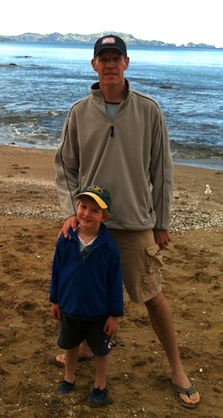 with one of my sons on the beach