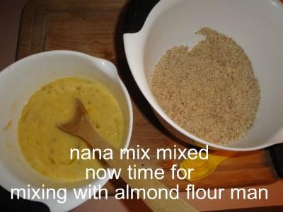 banana mix next to almond flour